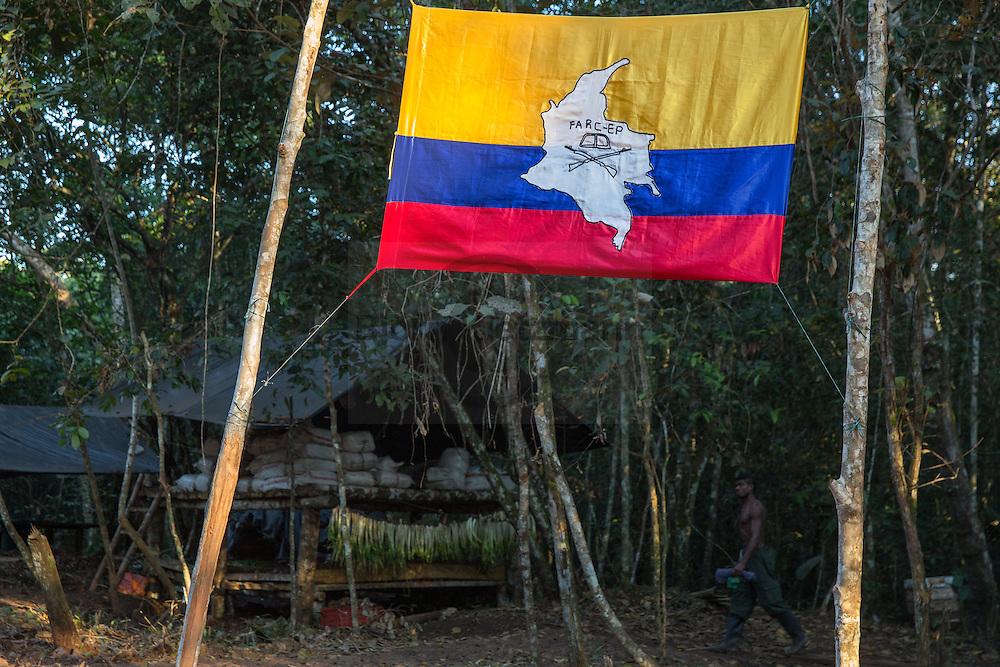 El Diamante, Meta, Colombia - 15.09.2016        <br /> <br /> Guerilla camp during the 10th conference of the marxist FARC-EP in El Diamante, a Guerilla controlled area in the Colombian district Meta. Few days ahead of the peace contract passing after 52 years of war with the Colombian Governement wants the FARC decide on the 7-days long conferce their transformation into a unarmed political organization. <br /> <br /> Guerilla-Camps zur zehnten Konferenz der marxistischen FARC-EP in El Diamante, einem von der Guerilla kontrollierten Gebiet im kolumbianischen Region Meta. Wenige Tage vor der geplanten Verabschiedung eines Friedensvertrags nach 52 Jahren Krieg mit der kolumbianischen Regierung will die FARC auf ihrer sieben taegigen Konferenz die Umwandlung in eine unbewaffneten politischen Organisation beschließen. <br />  <br /> Photo: Bjoern Kietzmann