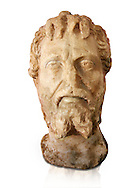 Roman sculpture of the Emperor Septime Severe, excavated  from Choud El Battan sculpted circa 193-211AD. The Bardo National Museum, Tunis, Inv No: C.73.  Against a white background. .<br /> <br /> If you prefer to buy from our ALAMY STOCK LIBRARY page at https://www.alamy.com/portfolio/paul-williams-funkystock/greco-roman-sculptures.html . Type -    BARDO    - into LOWER SEARCH WITHIN GALLERY box - Refine search by adding a subject, place, background colour, museum etc.<br /> <br /> Visit our CLASSICAL WORLD HISTORIC SITES PHOTO COLLECTIONS for more photos to download or buy as wall art prints https://funkystock.photoshelter.com/gallery-collection/The-Romans-Art-Artefacts-Antiquities-Historic-Sites-Pictures-Images/C0000r2uLJJo9_s0c