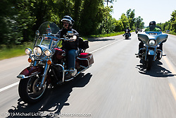 Martha Poe of Blue Springs, MO on her 2016 Road King riding from Steamboat Springs, Colorado, to Baggs, Wyoming during the Rocky Mountain Regional HOG Rally, USA. Friday June 9, 2017. Photography ©2017 Michael Lichter.