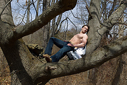 shirtless man outdoors resting in a tree in the woods