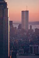 New York, New York City, Empire State Building and Twin Towers, World Trade Center, Lower Manhattan Skyline