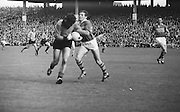 All Ireland Senior Football Championship Final, Kerry v Down, 22.09.1968, 09.22.1968, 22nd September 1968, Down 2-12 Kerry 1-13, Referee M Loftus (Mayo)..Kerry forward L. Prendergast (left) holds off Down defender as another Kerry forward lifts the ball off the ground,