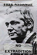 London, UK. Thursday 16th August 2012. Poster of Julian Assange outside the Ecuador Embassy. Reads: No Extradition.