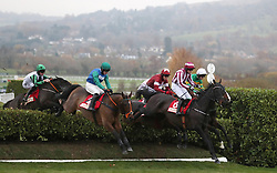 Jarob ridden by Mark Enright lead the field in the Glenfarclas Cross Country Handicap Chase during day one of the November Meeting at Cheltenham Racecourse.
