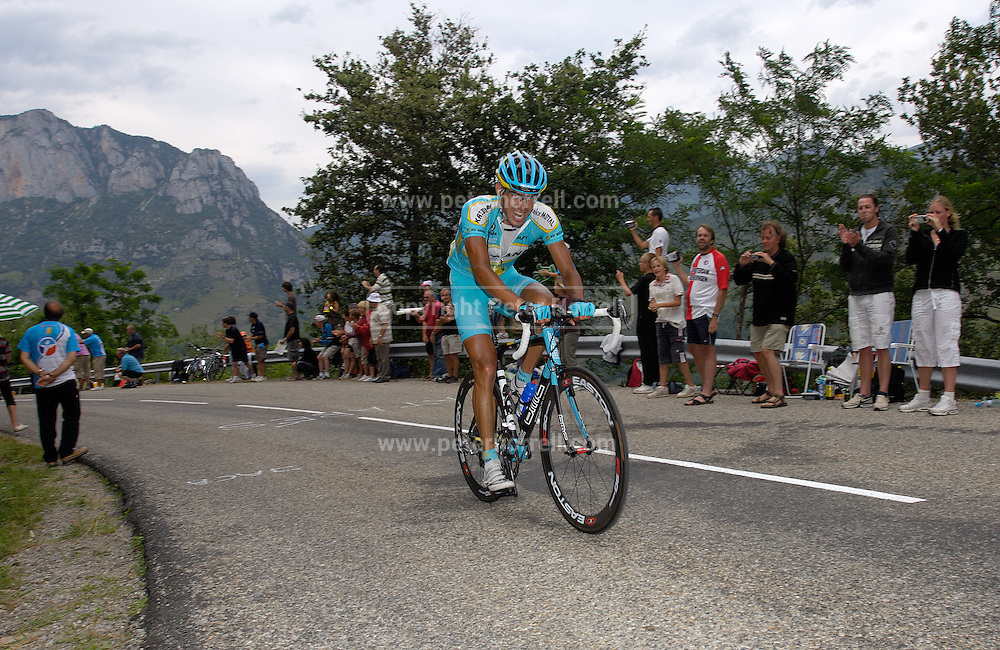 FRANCE SUNDAY 22ND JULY: Tour de France Stage 14 Mazamet - Plateau-de-Beille, 197km. Antonio Colom (Astana) leads the race up Plateau de Beille.