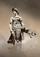 Roman statue of a Dancing Woman . Marble. Perge. 2nd century AD. Inv no 10.29.81 . Antalya Archaeology Museum; Turkey. Against a warm art background. .<br /> <br /> If you prefer to buy from our ALAMY STOCK LIBRARY page at https://www.alamy.com/portfolio/paul-williams-funkystock/greco-roman-sculptures.html . Type -    Antalya     - into LOWER SEARCH WITHIN GALLERY box - Refine search by adding a subject, place, background colour, museum etc.<br /> <br /> Visit our ROMAN WORLD PHOTO COLLECTIONS for more photos to download or buy as wall art prints https://funkystock.photoshelter.com/gallery-collection/The-Romans-Art-Artefacts-Antiquities-Historic-Sites-Pictures-Images/C0000r2uLJJo9_s0