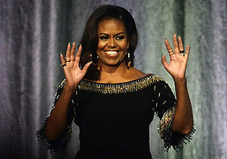 Former US First Lady Michelle Obama during a book tour for her memoir, Becoming, at the London O2 Arena.