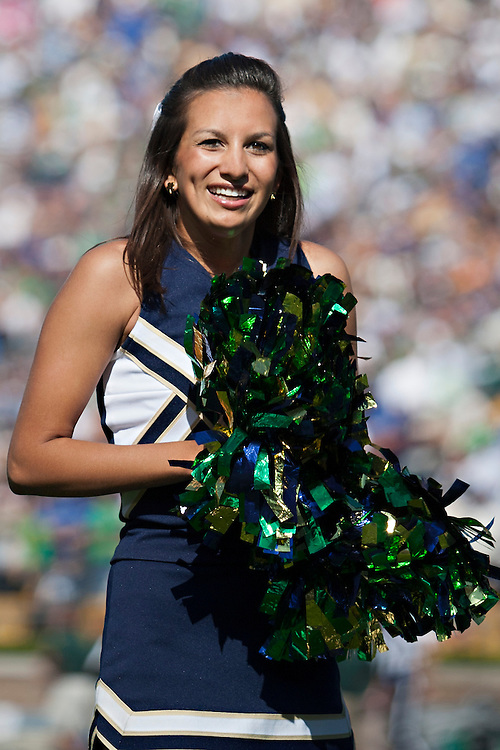 Notre Dame cheerleader Meredith Angel performs during NCAA football game between Notre Dame and Michigan State.  The Notre Dame Fighting Irish defeated the Michigan State Spartans 31-13 in game at Notre Dame Stadium in South Bend, Indiana.