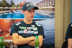 Tilen Bartol during press conference of Slovenian Nordic Ski Jumping team, on June 23, 2020 in Hotel Livada, Moravske Toplice, Slovenia. Photo by Ales Cipot / Sportida