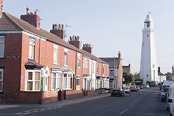Arthur Street and Lighthouse; Withernsea; East Yorkshire; England