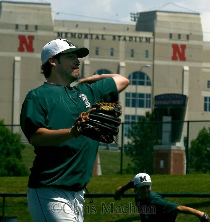 6/1/06 Lincoln, NE Manhattan University's Josh Santerre. practices at Haymarket Park in Lincoln Ne Thursday afternoon.  Haymarket Park is next to Memorial Stadium where the University of Nebraska PLays football. The  Jaspers will play in the NCAA regional tournament for the first time  in almost 50 years.(Chris Machian/Prairie Pixel Group)