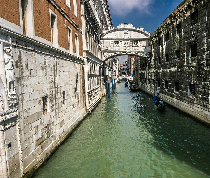 Bridge of Sighs (Ponte del Sospiri) over the canal Rio del Palazzo in Venice, italy.  It  connects the old prisons to the interrogation rooms in the Doge's Palace. The bridge name, given by Lord Byron in the 19th century, comes from the suggestion that prisoners would sigh at their final view of beautiful Venice out the window before being taken down to their cells.