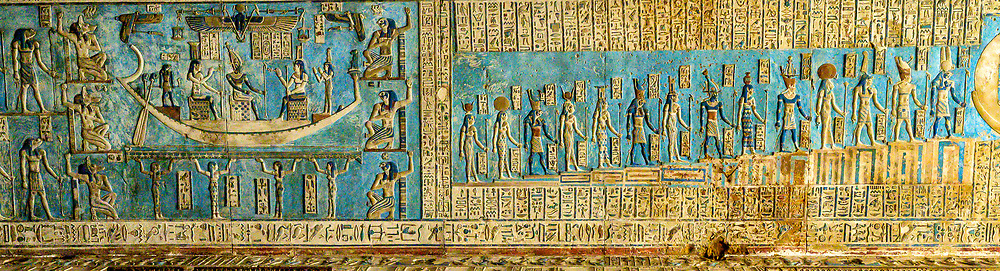 Detail of the Great Vestibule ceiling in the Hathor Temple, part of the Dendera Temple Complex
