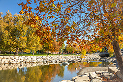 """""""Truckee River in Autumn 33"""" - Photograph of the Truckee River in the fall, shot in Downtown Reno, Nevada."""