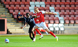 William Boyle of Cheltenham Town competes with Carlos Mendes Gomes of Morecambe- Mandatory by-line: Nizaam Jones/JMP - 12/09/2020 - FOOTBALL - Jonny-Rocks Stadium - Cheltenham, England - Cheltenham Town v Morecambe - Sky Bet League Two