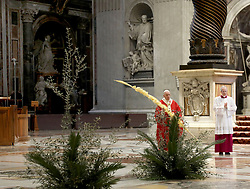 Pope Francis celebrates Palm Sunday Mass behind closed doors in Saint Peter's Basilica at the Vatican, April 5, 2020, during the lockdown aimed at curbing the spread of the COVID-19 infection, caused by the novel coronavirus. Photo: ABACAPRESS.COM