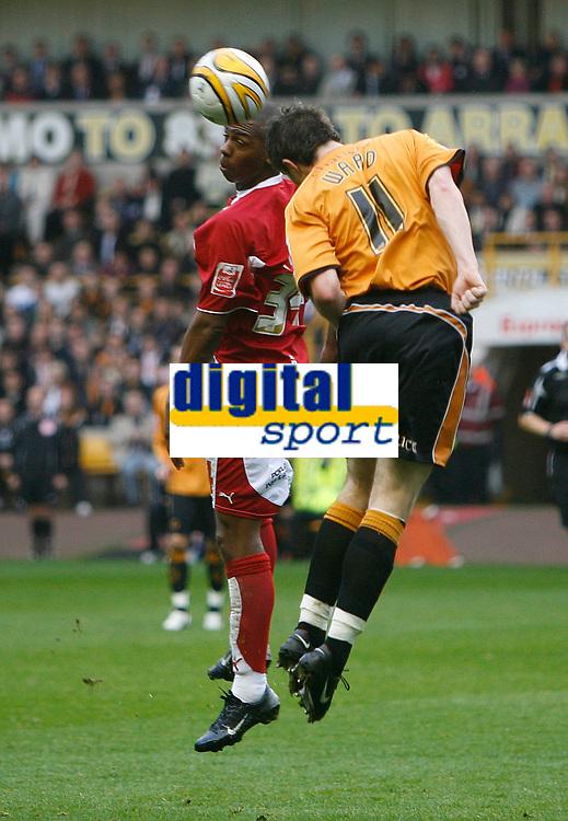 Photo: Steve Bond/Sportsbeat Images.<br /> Wolverhampton Wanderers v Bristol City. Coca Cola Championship. 03/11/2007.Darren Byfield (L) contests a header with Stephen Ward (R)