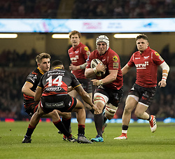 Scarlets' Will Boyde lines up Dragons' Ashton Hewitt<br /> <br /> Photographer Simon King/Replay Images<br /> <br /> Guinness PRO14 Round 21 - Dragons v Scarlets - Saturday 28th April 2018 - Principality Stadium - Cardiff<br /> <br /> World Copyright © Replay Images . All rights reserved. info@replayimages.co.uk - http://replayimages.co.uk