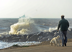 © Licensed to London News Pictures. 24/10/2011. Felixstowe, UK. Windy weather along Felixstowe promenade today 24th October 2011. Parts of the UK are braced for wet and windy weather over the next 24hrs . Photo: Stephen Simpson/LNP