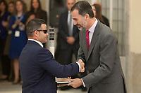 King Felipe VI of Spain awards David Casinos during the 2013 Sports National Awards ceremony at El Pardo palace in Madrid, Spain. December 03, 2014. (ALTERPHOTOS/Victor Blanco)