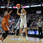 UNCASVILLE, CONNECTICUT- DECEMBER 4: Kia Nurse #11 of the Connecticut Huskies shoots for three during the UConn Huskies Vs Texas Longhorns, NCAA Women's Basketball game in the Jimmy V Classic on December 4th, 2016 at the Mohegan Sun Arena, Uncasville, Connecticut. (Photo by Tim Clayton/Corbis via Getty Images)