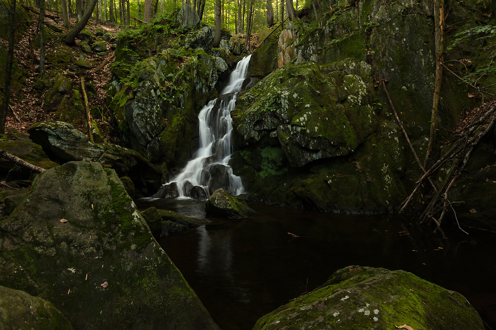 A warm summer day in the woods of Western Massachusetts at Goldmine Brook Falls.