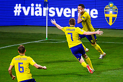 November 20, 2018 - Stockholm, SWEDEN - 181120 Ludwig Augustinsson , Sebastian Larsson and Marcus Berg of Sweden celebrates the 2-0 goal during the Nations League football match between Sweden and Russia on November 20, 2018 in Stockholm  (Credit Image: © Simon HastegRd/Bildbyran via ZUMA Press)