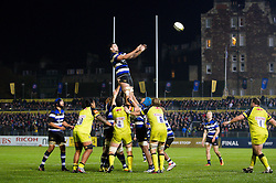 Elliott Stooke of Bath Rugby rises high to win lineout ball - Mandatory byline: Patrick Khachfe/JMP - 07966 386802 - 04/11/2016 - RUGBY UNION - The Recreation Ground - Bath, England - Bath Rugby v Leicester Tigers - Anglo-Welsh Cup.