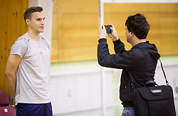 Jani Kovacic and journalist Uros Iskra during training camp of Slovenian Volleyball Men Team 1 month before FIVB Volleyball World League tournament in Ljubljana, on May 5, 2016 in Arena Vitranc, Kranjska Gora, Slovenia. Photo by Vid Ponikvar / Sportida