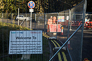 A sign indicates a security-manned access point to the HS2 Buckinghamshire Junctions Laydown Area on 17th July 2020 in Amersham, United Kingdom. The Department for Transport approved the issuing of Notices to Proceed by HS2 Ltd to the four Main Works Civils Contractors MWCC working on the £106bn high-speed rail link project in April 2020.