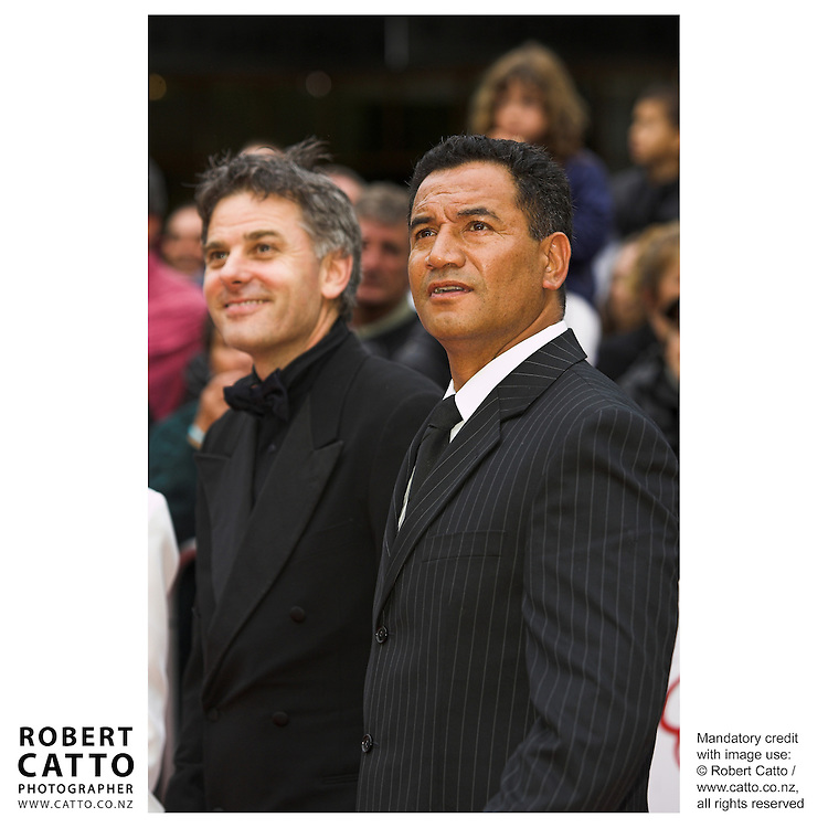 Director Vincent Ward and actor Temuera Morrison at the premiere of the film River Queen in Wanganui, New Zealand.<br />