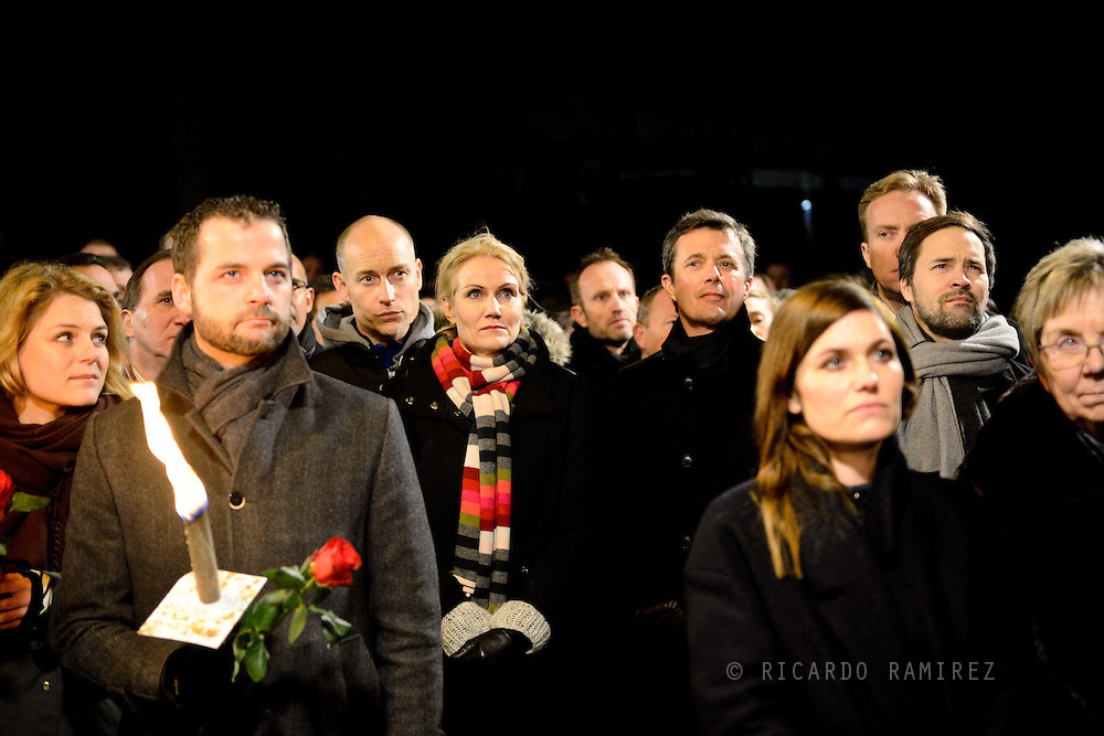 16.02.2015. Copenhagen, Denmark.<br /> Prime Minister Helle Thorning-Schmidt and Crown Prince Frederik attended a memorial rally for the victims and those injured in the attacks respectively Krudttønden and synagogue in Copenhagen.<br /> Photo: © Ricardo Ramirez