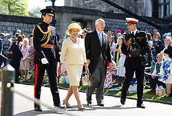 Sir John Major and Norma Major arrives at St George's Chapel at Windsor Castle for the wedding of Meghan Markle and Prince Harry.