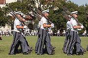 Members of the Citadel Military College corps of cadets march past the review stand during the first Friday Dress Parade on September 6, 2013 in Charleston, South Carolina. The Friday Dress Parade is a tradition at the Citadel going back to 1843.