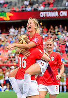 June 07, 2015: Forward Ada Hegerberg (#21) of Norway celebrates after scoring during the FIFA 2015 Women's World Cup Group B match between Norway and Thailand at Lansdowne Park in Ottawa, Canada.