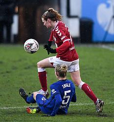 Sophie Ingle of Chelsea Women challenges Molly Pike of Bristol City Women- Mandatory by-line: Ryan Hiscott/JMP - 14/02/2021 - FOOTBALL - Twerton Park - Bath, England - Bristol City Women v Chelsea Women - FA Womens Super League 1
