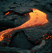 A lava flow at an active volcano in Hawaii Volcanoes National Park, Hawaii, USA