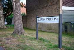 © Licensed to London News Pictures. 16/09/2021. Reading, UK. A street sign on Hadrian Walk East in Whitley, Reading following the discovery of a body in Erith, London on Wednesday 15/09/2021. A murder investigation was launched by Thames Valley Police's Major Crime Unit in connecting with a missing person investigation that was launched on 24/08/2021 following a report that a person had gone missing from the Reading area. Photo credit: Peter Manning/LNP