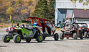 Popular four-wheel-drive rental vehicles in Silverton, Colorado, USA. Silverton is a former silver mining camp, now the federally-designated Silverton Historic District. Durango is linked to Silverton by the Durango and Silverton Narrow Gauge Railroad, a National Historic Landmark. Silverton no longer has active mining, but subsists on tourism, maintenance of US 550 (which links Montrose with Durango), mine pollution remediation, and retirees.