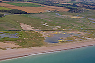 Aerial of Cley-next-the Sea Nature Reserve, including newly aquired Pope's Marsh, Norfolk Wildlife Trust, summer, Norfolk UK