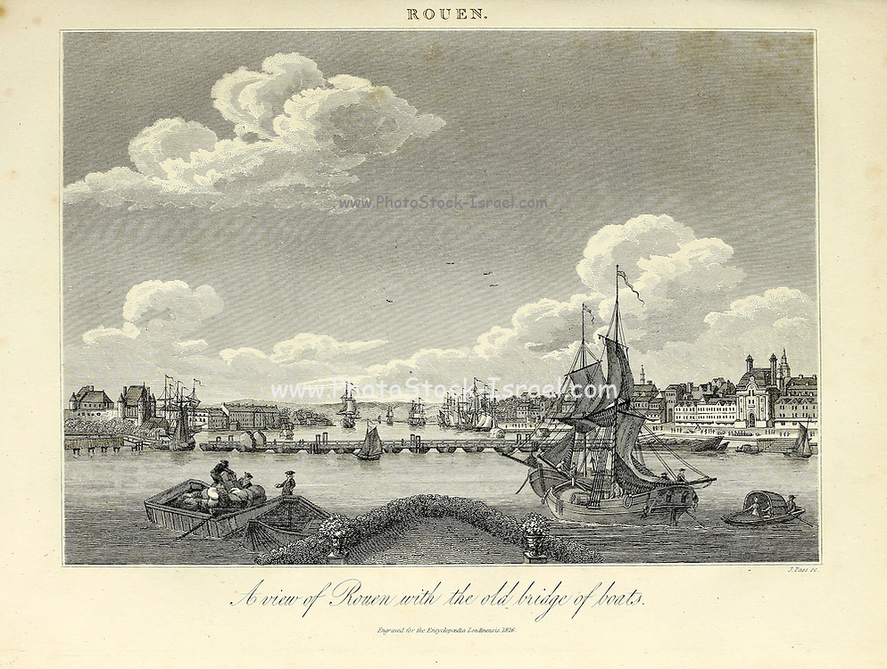 Rouen (France) with the old Bridge of Boats [Rouen is a city on the River Seine in northern France. It is the capital of the region of Normandy. Formerly one of the largest and most prosperous cities of medieval Europe] Copperplate engraving From the Encyclopaedia Londinensis or, Universal dictionary of arts, sciences, and literature; Volume XXII;  Edited by Wilkes, John. Published in London in 1827
