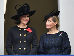 The Duchess of Cambridge and the Countess of Wessex (right), stand in a balcony over-looking the annual Remembrance Sunday Service at the Cenotaph memorial in Whitehall, central London.