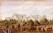 Crystal Palace, Hyde Park, London, England.  Building designed by Joseph Paxton (1801-1865), English gardener and architect, to house the Great Exhibition of 1851. Oleograph by George Baxter (1804-1858).