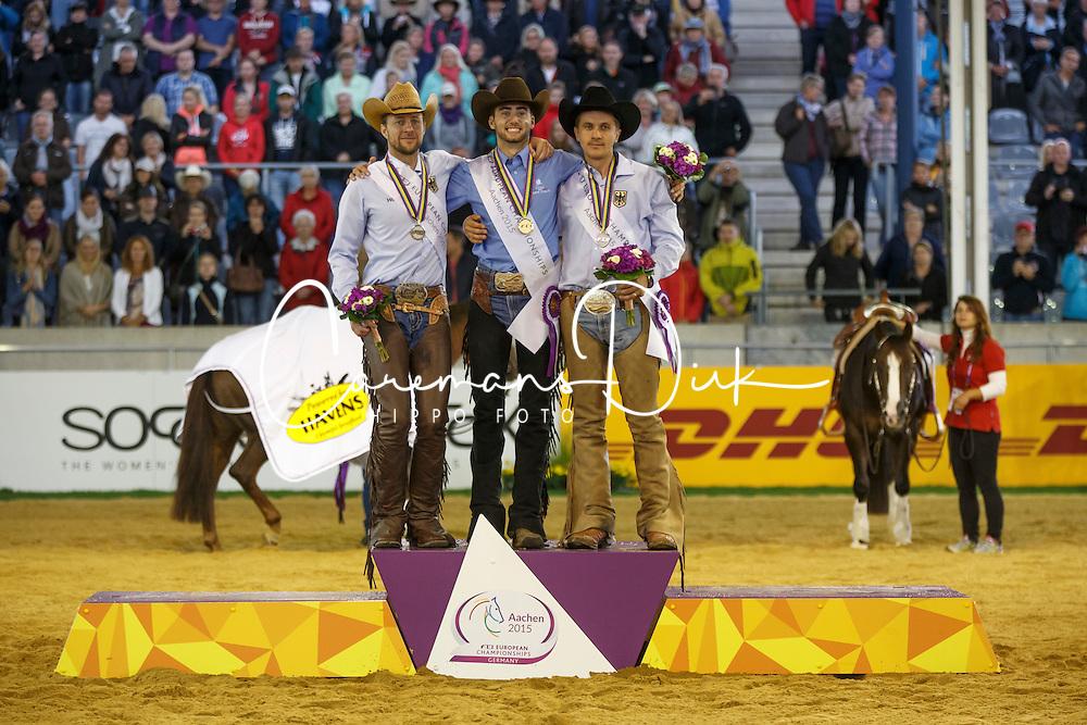 1 Masi De Vargas Giovanni, (ITA), 2 , Ludwig Grischa, (GER), 3 Ernst Elias, (GER)<br /> Reining individual<br /> European Championships - Aachen 2015<br /> © Hippo Foto - Dirk Caremans<br /> 16/08/15