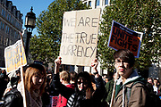 "Occupy London protest, October 15th 2011. Protest spreads from the US with this demonstrations in London and other cities worldwide. The 'Occupy' movement is spreading via social media. After four weeks of focus on the Wall Street protest, the campaign against the global banking industry started in the UK this weekend, with the biggest event aiming to ""occupy"" the London Stock Exchange. The protests have been organised on social media pages that between them have picked up more than 15,000 followers. Campaigners gathered outside  at midday before marching the short distance to Paternoster Square, home of the Stock Exchange and other banks.It is one of a series of events planned around the UK as part of a global day of action, with 800-plus protests promised so far worldwide.Paternoster Square is a private development, giving police more powers to not allow protesters or activists inside."