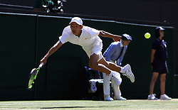 Chun Hsin Tseng during the Boys' singles final on day thirteen of the Wimbledon Championships at the All England Lawn Tennis and Croquet Club, Wimbledon. PRESS ASSOCIATION Photo. Picture date: Sunday July 15, 2018. See PA story TENNIS Wimbledon. Photo credit should read: Steven Paston/PA Wire. RESTRICTIONS: Editorial use only. No commercial use without prior written consent of the AELTC. Still image use only - no moving images to emulate broadcast. No superimposing or removal of sponsor/ad logos. Call +44 (0)1158 447447 for further information.