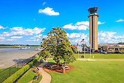 The public observation area and control tower at Atlanta's DeKalb Peachtree Airport (PDK).  Taken from the deck of the Downwind Restaurant.