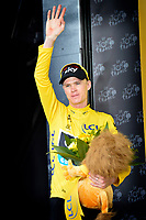 Sykkel<br /> 13.07.2013<br /> Foto: PhotoNews/Digitalsport<br /> NORWAY ONLY<br /> <br /> LYON, FRANCE - JULY 13: Christopher Froome (Great Britain / Team Sky) in the yellow jersey after the fourteenth stage of the 2013 Tour de France from Saint-Pourcain-sur-Sioule to Lyon on July 13, 2013 in Lyon, France.