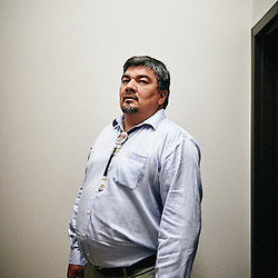 Quebec, QC, Canada. May 28, 2015. Jean-Roch Ottawa, Elected chief of the Atikamekw nation, in the corridor of an hotel where he was staying for a convention. Photo: Antoine Doyen