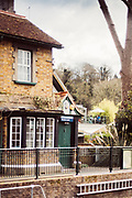 Maidenhead, Berkshire, United Kingdom, Monday, 12/04/2021, General View, past the Lockkeepers Cottage to the Boathouse Restaurant' Balcony, Boulters Lock, Ray Mill Island, River Thames, Thames Valley, [Mandatory Credit; Pete Spurrier],